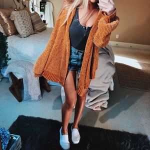 Sweaters - mustard chenille knit cardigan